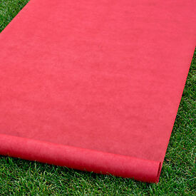 "New Solid Red Durable Rayon Aisle Runner 36"" by 100' With Pull Cord"