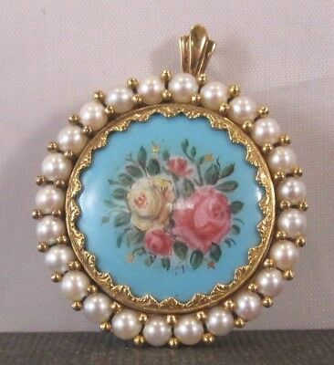 Vintage 18 K Enameled Flower And Pearl Pin