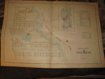 Super Antique 1895 Fall River Massachusetts Handcolored Map Gorgeous Rare Nr