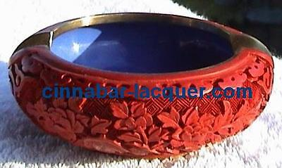Mid-20th Century Carved Cinnabar Laquer Ashtry  Red  TOP & RARE