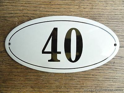Antique Style Enamel Door Number 40 House Number Door Sign Plaque