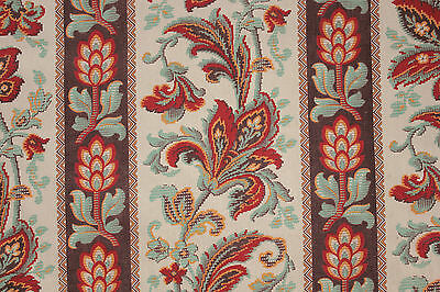 Antique French 19th century bed curtain panel embroidered look teal linen cotton