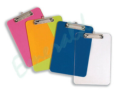 A4 PLASTIC Rigid Clipboard With Pen Holder - Colour Choice - Same Day Dispatch