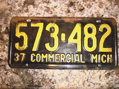 1937 Michigan Commercial License Plate 573 482