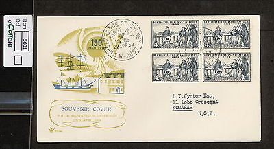 FDC 1959   4d BIRTH POST OFFICE FDC TYPED ADDRESSED Clarence St BLOCKof4  (5881)