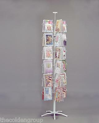 "Planet Racks 48 Pocket 6 1/4"" Wide White 6"" x 9"" Greeting Card Spinner Display"