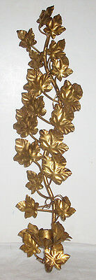 """20"""" Vintage Italian Gilt Ivy Motif Wall Candle Sconce"""