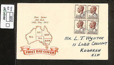 FDC 1951   3+1/2d Red Brown KGVI FDC HAND ADDRESSED Sydney BLOCK of 4 (5974)