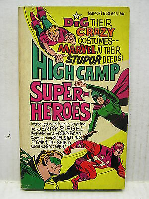 1966 HIGH CAMP SUPER-HEROES Paperback Book-1st Printing-Jerry Siegel (113111)