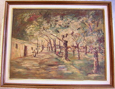 Unknown Unidentified European: Figures in Landscape/Oil Hungarian Polish Vintage