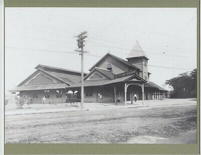 """Or&l Main Station Honolulu 1914 Hand Printed Silver Halide Photo On 8X10"""" Mat"""