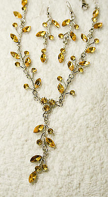 jewelry set amber crystal necklace earrings silver tone matching set unbranded