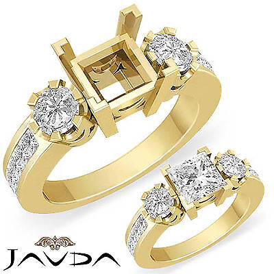 Natural Diamond Engagement 3 Stone Ring 14k Yellow Gold Round Princess Mount 1Ct