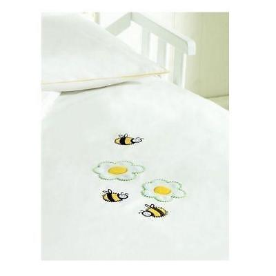 Saplings Cot / Junior Bed Duvet Cover & Pillow Case Set (White Honey Bee)