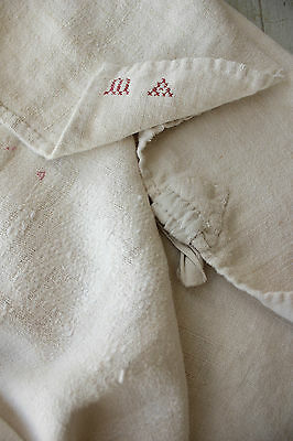 Antique French soft PALE homespun hand / kitchen Primitive timeworn towel 18th c