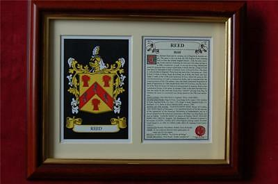 REED Family FRAMED Heraldic Coat of Arms Crest + History + Tree