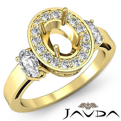 Three Stone Diamond Engagement Filigree Ring 14k Yellow Gold Oval Semi Mount 1ct