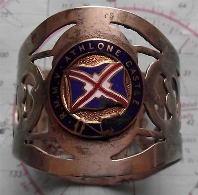Old c1930's RMMV Athlone Castle Line Pierced Napkin Ring with Enamel Crest