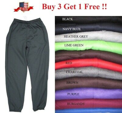 New Mens Fleece 3 Pocket Sweatpants Gym Sports Workout Sweat Pants S-5Xl