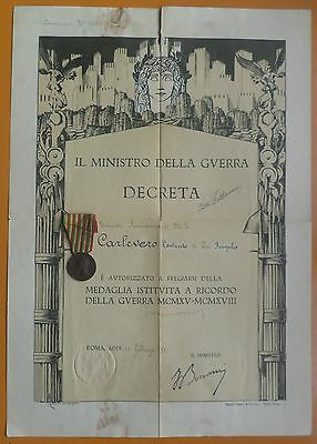 Italy Italian 1915 - 1918 WWI Remembrance Medal + Document Ordered Badge