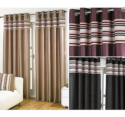 Striped Chenille & Silk Curtains Luxury Eyelet Ring Top Ready Made Lined Curtain