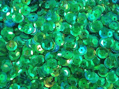 Sequins Cup 10mm Green Transparent AB 20g Dance Bead Craft Cupped FREE POSTAGE