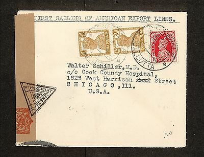 PH4801 1942 Military Postal History Cover WWII Censored India to USA