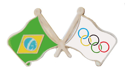 Olympic Games 2016 and Brazil Friendshp Flag Pin Badge