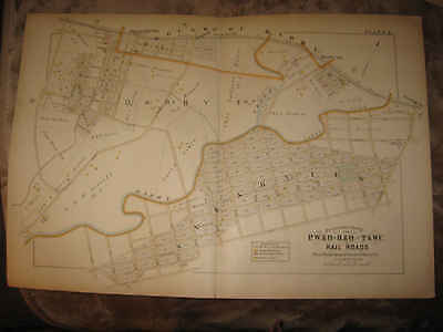 Huge Antique 1889 Darby Township Sharon Hill Pennsylvania Railroad Handclr Map N