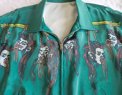 Mens Hand Painted Shrunken Heads Bomber Jacket (One of a Kind) Size XL