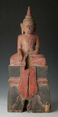 19th Century, Antique Laos Wooden Seated Buddha