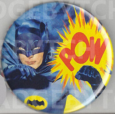 BATMAN POW! 60's TV Badge Button Pin - Retro COOL!  25mm and LARGE 56mm size!