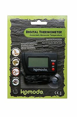 Komodo Digital Thermometer with remote sensor probe - keep your reptiles safe!