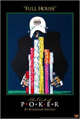 Full House Poker Gambling Poster Waldemar Swierzy Gamble Casino Chips 11 X 17