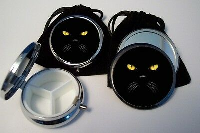 Black Cat Face Pill Box & Pocket Mirror with pouch