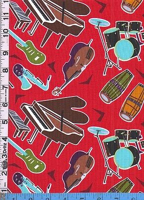 Fabric Timeless JAZZ MUSIC INSTRUMENTS TOSS Piano Drum set sax bass conga   Red