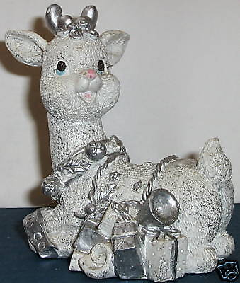 Silvery Relaxd Reindeer White W/silver Trim And Sparkle