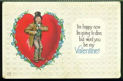 WONT YOU BE MY VALENTINE Man Stands in Heart Forget Me Nots Vintage Postcard