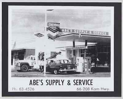 "RARE ABE'S CHEVRON 1950's HALEIWA HAND PRINTED SILVER HALIDE PHOTO ON 8X10"" MAT"