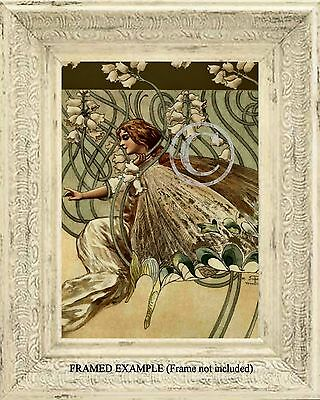 LILY of the VALLEY FAIRY Antique ART PRINT Fantasy Vintage Nouveau Victorian