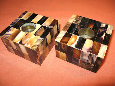 Vintage Black Abalone Shell Candle Holders 1950's