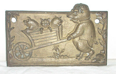 "Vintage Pigs in a Wheel Barrow Solid Brass 5"" Wall Plaque"