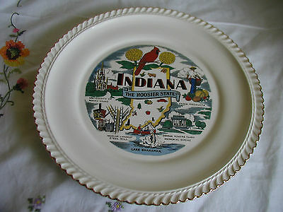 "INDIANA PLATE THE HOOSIER STATE SOUVENIR  10 1/4"" GOLD RIMMED"