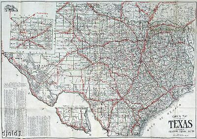 """1910 Census ~ Very Early Texas Road Map~Gallup~18""""x24"""""""