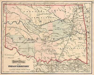 1872 Indian Territory ~ Oklahoma Map Print 24x36