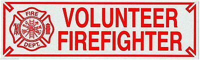 """VOLUNTEER FIREFIGHTER Highly Reflective Vehicle Decal -  size: 3"""" x 10"""""""