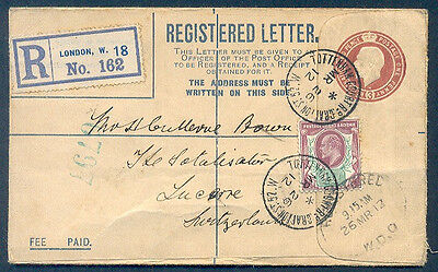 GREAT BRITAIN TO SWITZERLAND REGISTERED POSTAL STATIONERY + STAMP 1912 VF