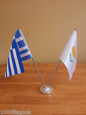 Greece Cyprus Greek Cypriot Friendship Table Desk Flag Set - Satin and Chrome