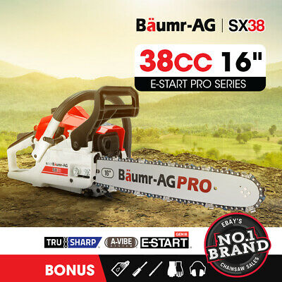 "New Baumr-AG 38cc Petrol Commercial Chainsaw 16"" Bar E-Start 3.2 HP Chain Saw"