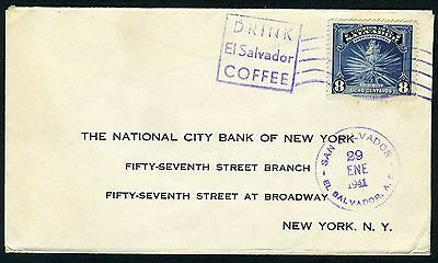 El Salvador 1/29/41 Cover To New York Coffee Topic Cancellation As Shown